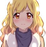 1girl absurdres aikatsu! aikatsu!_(series) blonde_hair blush closed_mouth frown gradient_hair grey_sweater highres looking_at_viewer multicolored_hair nijino_yume pink_hair red_eyes scarf sekina simple_background solo sweater tears upper_body white_background