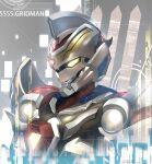 1boy copyright_name from_side glowing glowing_eye gridman_(ssss) kagami_rei looking_ahead mecha no_humans solo ssss.gridman twitter_username upper_body yellow_eyes