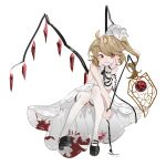 absurdres aibivy alternate_color alternate_costume bare_shoulders black_footwear blonde_hair blood bloody_clothes bloody_dress chain chinese_lantern_(plant) commentary_request crystal detached_sleeves dress flandre_scarlet full_body grin hair_ribbon hand_on_own_cheek highres long_hair no_hat no_headwear platform_footwear red_eyes ribbon shoes side_ponytail simple_background single_sleeve sitting smile thigh-highs touhou white_background white_dress white_legwear white_ribbon wings