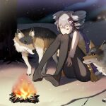 1girl absurdres bangs black_legwear blue_scarf bronya_zaychik campfire closed_eyes commentary crossed_bangs drill_hair grey_hair hair_ribbon highres honkai_(series) honkai_impact_3rd kuo_(kuo114514) leg_hug long_hair no_shoes outdoors pantyhose ribbon scarf shirt sitting sleeveless sleeveless_shirt snow snowing tree twin_drills wolf