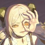 1girl arknights bangs choker collarbone commentary english_commentary fangs favilia half-closed_eye hand_over_face hand_up horns ifrit_(arknights) jacket looking_away ok_sign ok_sign_over_eye orange_eyes parted_lips portrait shadow short_hair slit_pupils solo twintails white_jacket