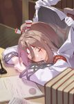 1girl 1other admiral_(kantai_collection) book closed_eyes commentary_request hachimaki headband highres jacket jacket_on_shoulders kantai_collection light_brown_hair long_hair natsuki_(gedo) paper pen pie_chart ponytail sleeping striped_headband table upper_body zuihou_(kantai_collection)