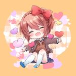 1girl :d ^_^ bangs blue_sky blush bow chibi closed_eyes commentary doki_doki_literature_club eyebrows_visible_through_hair facing_viewer hair_between_eyes hair_bow heart highres jacket kneehighs open_clothes open_jacket open_mouth outstretched_arms pink_hair pleated_skirt red_bow sayori_(doki_doki_literature_club) school_uniform short_hair skirt sky smile solo spread_arms touko_56 twitter_username white_legwear