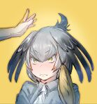 >:( /\/\/\ 1girl ahoge alternate_hairstyle bangs bird_wings black_hair blonde_hair bow bow_(bhp) closed_mouth collared_shirt feathered_wings forehead frown green_eyes grey_shirt hair_bow hands head_wings kemono_friends low_ponytail medium_hair multicolored_hair necktie nervous out_of_frame shirt shoebill_(kemono_friends) short_sleeves silver_hair simple_background solo_focus upper_body v-shaped_eyebrows wavy_mouth white_neckwear wings yellow_background yellow_bow