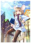 1girl animal_ears bangs black_legwear blonde_hair book buttons clouds coat food food_on_face fur_trim hair_between_eyes hanasaki_mahiru hat highres holding leg_up long_hair looking_at_viewer mouse mouse_ears original outdoors pantyhose personification plaid plaid_scarf red_eyes scarf skirt sky smile sparkle sunlight tail tied_hair tongue tongue_out two_side_up village white_coat white_headwear white_skirt