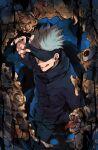 1boy :p black_jacket black_pants blindfold blindfold_lift blue_background closed_mouth covered_eyes cowboy_shot eldritch_abomination eyeball gojou_satoru hand_in_pocket hand_up high_collar highres jacket jujutsu_kaisen kazuya0810 long_sleeves male_focus monster open_mouth pants short_hair smile solo tongue tongue_out white_hair