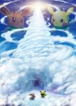 absurdres brown_eyes brown_fur cave closed_mouth clouds commentary_request eevee fushigi_no_dungeon gen_1_pokemon green_ribbon highres looking_up no_humans open_mouth outdoors pikachu pokemon pokemon_(creature) pokemon_(game) pokemon_mystery_dungeon repost_notice ribbon standing tsuyuki_rune watermark