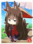 1girl amagi_(azur_lane) animal_ears azur_lane black_hair blue_sky blurry cherry_blossoms chibi commentary_request depth_of_field fox_ears fox_girl fox_tail grey_eyes hair_ornament holding holding_umbrella japanese_clothes kyuubi long_hair long_sleeves looking_at_viewer multiple_tails oriental_umbrella petals signature sky smile solo tail taisa_(kari) thick_eyebrows translation_request tree umbrella wide_sleeves