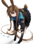 1girl amiya_(arknights) animal_ears arknights ascot bent_over black_footwear black_jacket black_legwear blue_eyes blue_neckwear blue_shirt blue_skirt brown_hair bunny_tail fei_(songyijie) hands_on_own_legs highres jacket jewelry long_hair long_ponytail looking_at_viewer multiple_rings pantyhose plaid plaid_skirt rabbit_ears ring shirt short_hair_with_long_locks simple_background skirt solo tail thumb_ring very_long_hair white_background