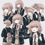 1girl alternate_hair_length alternate_hairstyle backpack bag bangs black_jacket blush braid breasts brown_skirt cat_bag closed_eyes collared_shirt criis-chan danganronpa double_bun from_side grey_background hair_ornament hairclip half-closed_eye hand_up hood jacket light_brown_hair long_hair long_sleeves looking_at_viewer low_twintails nanami_chiaki neck_ribbon one_eye_closed open_mouth pink_bag pink_ribbon ponytail ribbon school_uniform shirt shirt_tucked_in short_hair simple_background skirt sleeping super_danganronpa_2 symbol_commentary twintails upper_body upper_teeth white_shirt yawning zzz