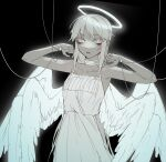 1girl angel bags_under_eyes black_background buttoniris choker commentary dot_nose dress english_commentary halo hands_up highres intravenous_drip multiple_wings open_mouth original pale_color seraph solo spot_color two_(buttoniris) wings
