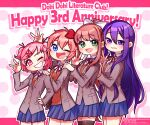 4girls :d ;d anniversary bangs black_legwear blue_eyes blue_sky bow brown_hair commentary_request copyright_name doki_doki_literature_club eyebrows_visible_through_hair fang green_eyes green_jacket grin hair_between_eyes hair_bow hair_ornament hair_ribbon hairclip hand_on_another's_shoulder hand_on_hip highres jacket long_hair long_sleeves looking_at_viewer monika_(doki_doki_literature_club) multiple_girls nan_(gokurou) one_eye_closed open_mouth parted_lips pink_eyes pink_hair pleated_skirt ponytail purple_hair red_bow red_ribbon ribbon school_uniform short_hair simple_background skirt sky smile thigh-highs two_side_up very_long_hair violet_eyes w watermark white_ribbon zettai_ryouiki