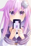 1girl absurdres bangs bimmy blush cellphone commentary d-pad d-pad_hair_ornament dress english_commentary eyebrows_visible_through_hair hair_between_eyes hair_ornament highres holding holding_phone long_hair long_sleeves looking_at_viewer neckerchief nepgear neptune_(series) phone purple_hair sailor_collar sailor_dress sidelocks simple_background solo violet_eyes white_background white_dress yellow_neckwear