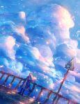 1girl absurdres blue_eyes clouds dress grass highres long_hair original petals sakimori_(hououbds) sign sky solo white_hair