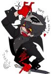 1boy absurdres amamiya_ren black_coat black_hair blood blood_on_face btmr_game calling_card coat copyright_name dagger gloves highres holding holding_weapon long_sleeves male_focus mask mask_on_head mouth_hold persona persona_5 persona_5_the_royal red_gloves sharp_teeth signature simple_background solo sparkle teeth upper_body weapon white_background yellow_eyes