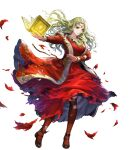 1girl asatani_tomoyo bangs black_footwear black_legwear blonde_hair book breasts circlet detached_sleeves dress fingernails fire_emblem fire_emblem:_the_binding_blade fire_emblem_heroes full_body green_eyes guinevere_(fire_emblem) highres holding holding_book jewelry long_dress long_hair long_skirt long_sleeves medium_breasts necklace official_art pantyhose parted_bangs red_dress shiny shiny_hair simple_background skirt solo torn_clothes torn_dress torn_legwear transparent_background