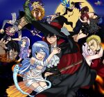 1boy 1girll absurdres artist_request artist_solafsekai blue_hair blush couple demon_girl erza_scarlet fairy_tail flying_sweatdrops gloves gray_fullbuster highres holding horns hug juvia_lockser long_hair looking_at_viewer lucy_heartfilia md5_mismatch multiple_boys multiple_girls muscle open_mouth resolution_mismatch sitting smile solafsekai source_smaller thigh-highs