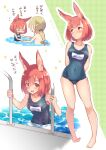 >_< 1boy 1girl :d animal_ears arms_behind_back bangs bare_arms bare_legs bare_shoulders blush breasts brown_hair calm_mashiro covered_navel full_body hound_(sekaiju) medium_breasts nervous one-piece_swimsuit open_mouth partially_submerged pool pool_ladder poolside rabbit_ears sekaiju_no_meikyuu sekaiju_no_meikyuu_5 shirtless short_hair smile swimsuit warlock_(sekaiju)