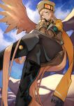 1girl absurdres black_footwear black_gloves black_legwear blonde_hair blue_eyes blue_sky boots closed_mouth clouds cloudy_sky commentary_request crossed_legs day fingerless_gloves fur_hat gloves guilty_gear guilty_gear_xrd hat highres knee_boots lips long_hair long_sleeves looking_at_viewer millia_rage outdoors pantyhose revision simple_background single_wing sitting skirt sky solo ushanka wings yoshio_(55level)