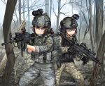 2girls aiming assault_rifle camouflage commentary_request gloves goggles goggles_on_headwear gun helmet holding holding_weapon kws laser_sight load_bearing_vest military military_operator multiple_girls original patch plate_carrier rifle sling south_korea south_korean_flag sunglasses trigger_discipline vertical_foregrip weapon weapon_request