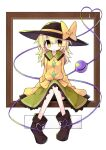 1girl alternate_eye_color alternate_hair_color alternate_hair_length alternate_hairstyle asameshi black_footwear black_headwear blonde_hair blush_stickers bow bright_pupils commentary_request full_body green_skirt hat hat_bow heart heart_of_string highres komeiji_koishi long_hair picture_frame shirt shoes sitting skirt solo third_eye touhou white_background white_pupils wide_sleeves yellow_bow yellow_eyes yellow_shirt