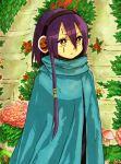 1girl android blue_cloak cloak hair_between_eyes kazushiban lowres medium_hair olympia outdoors purple_hair pyro_jack sekaiju_no_meikyuu sekaiju_no_meikyuu_3 solo wall yellow_eyes