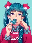 1girl absurdres anastasia_gordieieva aqua_hair artist_name blue_background bow christmas cookie earrings eating food hand_up highres jewelry long_sleeves looking_at_viewer mole mole_above_mouth original red_bow red_eyes stud_earrings sweater twintails upper_body