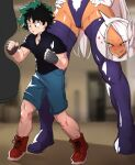 1boy 1girl age_difference animal_ears ari_(ariel_lopez550) black_gloves black_shirt blurry blurry_background blush boku_no_hero_academia dark_skin dark_skinned_female english_commentary fingerless_gloves freckles gloves green_eyes green_hair groin hands_on_hips heart height_difference hetero legs leotard licking_lips long_hair looking_at_another midoriya_izuku mirko naughty_face nose_blush punching punching_bag rabbit_ears rabbit_girl red_eyes shirt shoes short_hair short_sleeves shorts sneakers sweat thick_thighs thigh-highs thighs tongue tongue_out white_gloves white_hair you_gonna_get_raped
