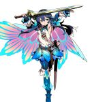 1girl bangs belt blue_bodysuit blue_eyes blue_hair bodysuit bodysuit_under_clothes boots cape detached_sleeves dress falchion_(fire_emblem) fingerless_gloves fire_emblem fire_emblem_awakening fire_emblem_heroes full_body gloves gradient gradient_cape gradient_clothes highres himukai_yuuji holding holding_sword holding_weapon jewelry long_hair looking_away lucina_(fire_emblem) official_art ribbed_bodysuit sheath shiny shiny_hair shiny_skin short_dress skin_tight solo sword thigh-highs thigh_boots tiara transparent_background weapon