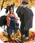 1boy 1girl animal_ears autumn_leaves bicycle black_eyes black_hair black_sclera blue_hakama bow doitsuken fox_ears fox_tail geta glasses grey_hair ground_vehicle hair_bow hakama hat highres jacket japanese_clothes kitsune kitsune_spirit_(doitsuken) long_sleeves multiple_tails original police police_uniform ponytail red_bow riding_bicycle sharp_teeth smile tail taishou teeth tree uniform wide_sleeves yellow_eyes