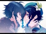 2boys ahoge beret black_hair blue_eyes blue_hair blurry bow braid brown_robe closed_eyes closed_mouth commentary depth_of_field dual_persona eyebrows_visible_through_hair film_grain flower genshin_impact gradient_hair green_headwear hand_on_another's_cheek hand_on_another's_face hat hat_flower kouzuki_(kuzk_0512) letterboxed light_particles long_sleeves looking_at_another male_focus multicolored_hair multiple_boys puffy_sleeves robe sideways_mouth smile spoilers striped striped_bow time_paradox twin_braids venti_(genshin_impact) younger