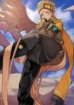 1girl absurdres black_footwear black_gloves black_legwear blonde_hair blue_eyes blue_sky boots closed_mouth clouds cloudy_sky commentary_request crossed_legs day fingerless_gloves fur_hat gloves guilty_gear guilty_gear_xrd hat highres knee_boots lips long_hair long_sleeves looking_at_viewer millia_rage outdoors pantyhose simple_background single_wing sitting skirt sky solo ushanka wings yoshio_(55level)