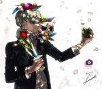 2boys :< absurdres animal_crossing animal_ears black_jacket blonde_hair blush_stickers btmr_game cellphone character_name flower head_wreath high_collar highres holding holding_flower holding_phone jacket long_sleeves male_focus marshal_(animal_crossing) multiple_boys multiple_girls narukami_yuu on_shoulder persona persona_4 petals phone school_uniform self_shot signature silver_hair simple_background smartphone smile squirrel_ears squirrel_tail tail white_background yasogami_school_uniform