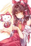 2girls absurdres animal animal_ears ascot ayatsuki_sugure bangs bare_shoulders bow brown_eyes brown_hair cat collared_dress detached_sleeves dress fake_animal_ears feline hair_bow hair_intakes hair_ornament hair_tubes hakurei_reimu hakurei_reimu_(cosplay) hat hello_kitty hello_kitty_(character) highres human long_hair long_sleeves mammal multiple_girls paw_pose red_bow red_dress sanrio sidelocks simple_background sweatdrop team_shanghai_alice touhou twitter_username wide_sleeves yellow_neckwear