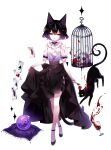 1girl animal_ears artist_name bangs bare_arms bare_shoulders birdcage black_cat black_hair black_skirt cage card cat cat_ears clothing_cutout commentary crossed_legs crystal_ball full_body hair_between_eyes highres original red_eyes sheya shirt short_hair shoulder_cutout signature simple_background skirt skirt_hold skull solo standing watson_cross white_background white_shirt
