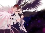 2girls akemi_homura akuma_homura argyle argyle_legwear bare_shoulders between_legs black_dress black_gloves black_hair black_theme black_wings blurry blurry_background breasts choker collarbone covered_navel detached_collar dress elbow_gloves evil_smile eye_contact face-to-face feathered_wings floating floating_hair frilled_sleeves frills full_body gloves goddess_madoka grey_legwear hair_ribbon hakusai_(tiahszld) half-closed_eyes hand_on_another's_waist highres holding_hands interlocked_fingers kaname_madoka layered_dress long_dress long_hair looking_at_another mahou_shoujo_madoka_magica mahou_shoujo_madoka_magica_movie multiple_girls parted_lips pink_hair pink_legwear purple_theme red_ribbon ribbon side-by-side simple_background small_breasts smile strapless strapless_dress thigh-highs transparent_wings two_side_up very_long_hair violet_eyes white_background white_choker white_dress white_footwear white_gloves white_neckwear white_ribbon wide_sleeves winged_footwear wings yellow_eyes yuri zettai_ryouiki