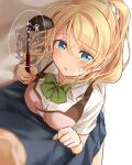 1boy 1girl apron ayase_eli blonde_hair blue_eyes blue_skirt blurry blush depth_of_field dutch_angle from_above green_ribbon hair_ornament hair_scrunchie highres ladle looking_at_viewer love_live! love_live!_school_idol_project mogu_(au1127) neck_ribbon pink_apron ponytail pov ribbon scrunchie shirt skirt solo_focus sweatdrop translation_request white_scrunchie white_shirt