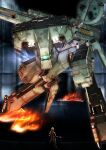 1boy blurry blurry_background cyborg fire gray_fox highres joy_(cyber_x_heaven) looking_down looking_up mecha metal_gear_(series) metal_gear_rex metal_gear_solid military science_fiction shoulder_cannon size_difference skating solo_focus standing
