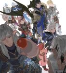 5boys 5girls adventurer_(ff14) alphinaud_leveilleur animal_ears armor aymeric_de_borel bangs black_hair blonde_hair blue_eyes cat_ears chainmail circlet closed_eyes dragon elezen elf estinien eyepatch facial_mark final_fantasy final_fantasy_xiv green_eyes grey_hair hat haurchefant_greystone highres holy_pumpkin hyur lalafell long_hair lucia_junius midgardsormr miqo'te moogle multiple_boys multiple_girls neck_tattoo open_mouth pink_hair pointy_ears short_hair shoulder_armor sword tataru_taru tattoo thancred_waters weapon whisker_markings white_background white_hair y'shtola_rhul ysayle_dangoulain