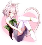 1girl :p absurdres animal_ear_fluff animal_ears anklet armlet black_shirt cat_ears cat_tail character_request commentary_request coneko_(slvk12) dress full_body heart highres jewelry knees_up leaning_back legs panties panty_peek pink_eyes pink_hair purple_dress shirt short_hair sitting solo tail thigh-highs thighs tongue tongue_out underwear vrchat white_legwear white_panties