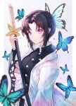 1girl absurdres bangs black_hair black_shirt blue_butterfly blurry_foreground breasts bug butterfly butterfly_hair_ornament collared_shirt eyebrows_visible_through_hair facing_to_the_side hair_intakes hair_ornament haori highres holding holding_weapon insect japanese_clothes katana kimetsu_no_yaiba kochou_shinobu long_sleeves looking_at_viewer neon_(hhs9444) parted_bangs shirt short_hair sidelocks simple_background smile solo sword violet_eyes weapon