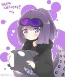 1girl andreana_(arknights) arknights bangs black_jacket black_shirt blush closed_mouth collarbone commentary dated eyebrows_visible_through_hair fur-trimmed_jacket fur_trim goggles goggles_on_head happy_birthday holding holding_stuffed_toy jacket kurotofu long_sleeves looking_at_viewer mask mask_pull mouth_mask open_clothes open_jacket ponytail puffy_long_sleeves puffy_sleeves purple_background purple_hair shirt solo stuffed_animal stuffed_orca stuffed_toy tentacles two-tone_background upper_body violet_eyes white_background