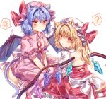 2girls :o ? absurdres anger_vein animal_ear_fluff animal_ears ascot ayatsuki_sugure back_cutout bat_wings blonde_hair blue_hair bow cat_ears cat_girl cat_tail clothing_cutout crystal dress dress_bow extra_ears facing_another flandre_scarlet hair_intakes hat hat_ribbon highres kneeling long_hair looking_at_viewer looking_back mob_cap multiple_girls puffy_sleeves red_dress red_eyes remilia_scarlet ribbon short_hair short_sleeves siblings side_ponytail simple_background tail touhou twitter_username v-shaped_eyebrows white_background white_bow wings