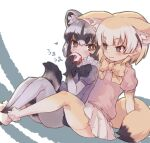2girls animal_ears black_neckwear blonde_hair blue_swimsuit bow bowtie commentary_request common_raccoon_(kemono_friends) ears_down elbow_gloves fennec_(kemono_friends) fox_ears fox_girl fox_tail fur_collar gloves grey_hair grey_legwear highres kemono_friends kolshica multicolored_hair multiple_girls pantyhose pleated_skirt puffy_short_sleeves puffy_sleeves raccoon_ears raccoon_girl raccoon_tail short_hair short_sleeves sitting skirt sweater swimsuit tail thigh-highs white_fur white_hair white_skirt yellow_legwear yellow_neckwear yellow_sweater zettai_ryouiki