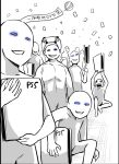 balloon blue_eyes confetti controller crowd game_console game_controller glowing glowing_eyes izumi_(toubun_kata) playstation_5 real_life smug spot_color