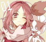 1_(number) 1girl bimi_(mgk) flower_ornament headband ichinomiya_eruna kao_ru05 mascot number_one one_eye_closed pink_hair scarf school_uniform short_hair striped striped_background
