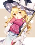 1girl :o apron black_vest blonde_hair bow broom cowboy_shot gloves hair_between_eyes hat hat_bow highres jill_07km juliet_sleeves kirisame_marisa light_blush long_hair long_sleeves looking_at_viewer open_mouth pink_gloves pink_scarf puffy_sleeves scarf shirt solo surprised touhou upper_teeth vest waist_apron wavy_hair white_bow white_shirt witch witch_hat yellow_eyes