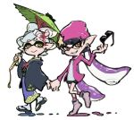 +_+ 2girls aori_(splatoon) beanie black_hair black_haori blue_kimono closed_mouth cousins domino_mask earrings eyebrows_visible_through_hair geta green_umbrella grin hair_ornament hair_rings haori hat hat_ornament holding holding_eyewear holding_hands holding_umbrella hotaru_(splatoon) jacket japanese_clothes jewelry kimono long_hair long_sleeves looking_at_viewer mask mole mole_under_eye multicolored_hair multiple_girls obi open_clothes open_jacket orange_eyes oriental_umbrella paint pink_headwear pink_jacket pink_legwear pointy_ears purple_hair sash short_hair silver_hair simple_background sjw_kazuya smile splatoon_(series) splatoon_2 star_(symbol) suction_cups sunglasses tabi teeth tentacle_hair two-tone_hair umbrella very_long_hair walking white_background white_legwear wide_sleeves