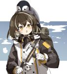 1girl animal_on_head arknights backpack bag beak_mask bird blush breath brown_hair coat cold commentary earrings eyebrows_visible_through_hair freenote_mr glint gloves hair_between_eyes highres jewelry looking_at_viewer magallan_(arknights) mask_around_neck multicolored_hair on_head open_mouth penguin short_hair silver_hair simple_background single_earring solo strap streaked_hair the_emperor_(arknights) two-tone_hair upper_body white_background white_coat white_gloves winter_clothes yellow_eyes