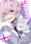 1girl :d black-framed_eyewear blue_shirt bright_pupils collared_shirt creature fate/grand_order fate_(series) fou_(fate/grand_order) glasses holding_creature hood hooded_jacket jacket looking_at_viewer mash_kyrielight necktie open_clothes open_jacket open_mouth pink_hair pokimari round_teeth shirt short_hair smile solo teeth upper_teeth violet_eyes white_pupils